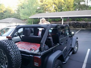 Allie in the Jeep
